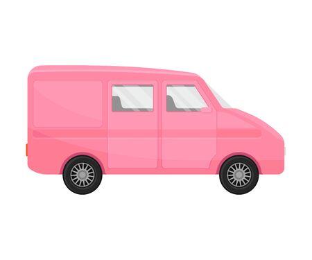 Pink cargo passenger minivan. Vector illustration on a white background. Illustration