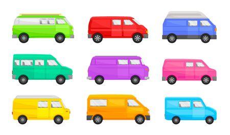 Set of minivans. Vector illustration on a white background. Illustration