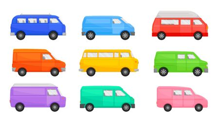 Set of minibuses. Vector illustration on a white background.