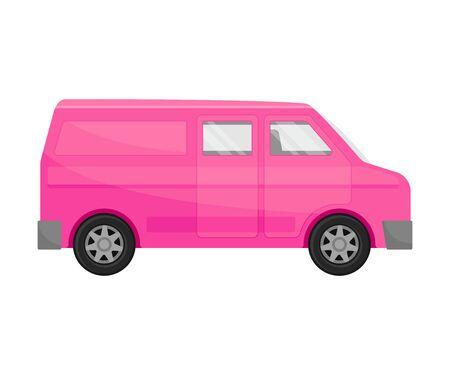 Bright pink  minivan. Vector illustration on a white background.