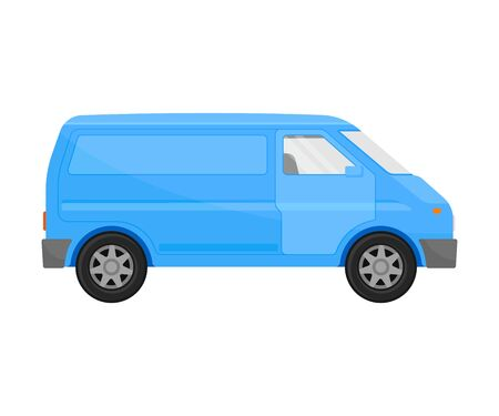 Blue cargo minivan. Vector illustration on a white background.