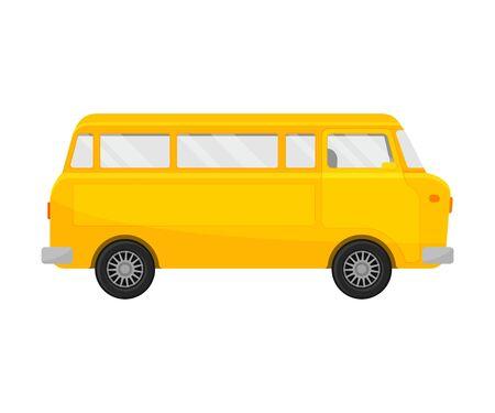 Yellow minivan. Vector illustration on a white background. Banco de Imagens - 131734632