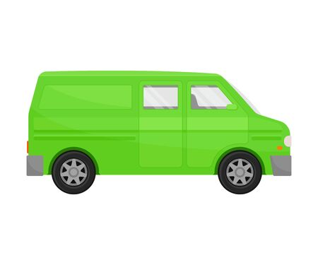 Bright green  minivan. Vector illustration on a white background.