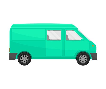 Green  minivan. Vector illustration on a white background. Illustration