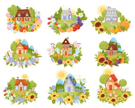 Set of village houses in the meadow with a path among flowers, vegetables and fruits against the backdrop of the sun and mountains. Vector illustration.