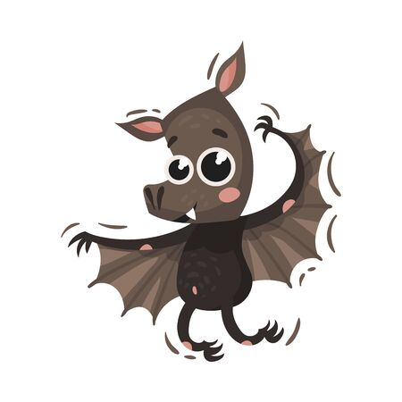 Cute black bat with big eyes and spread wings. Vector illustration on a white background.