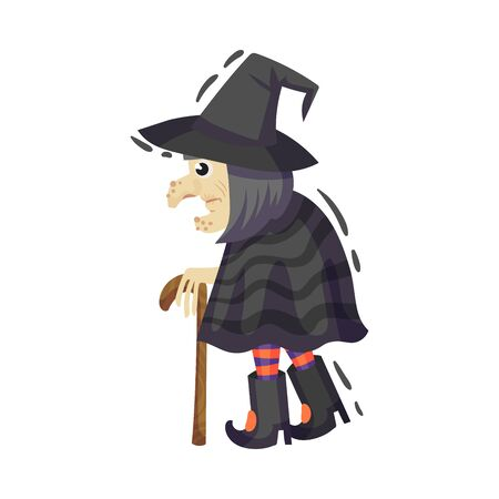 Very old witch with a big nose and mittens comes in a black hat, raincoat and striped golf. Vector illustration on a white background.