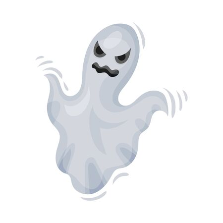 White ghost with a muzzle. Vector illustration on a white background.
