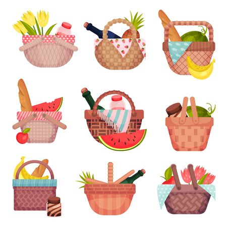 Set of open picnic baskets with groceries. Vector illustration on a white background.