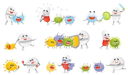 Set of cartoon pills and germs. Vector illustration. Çizim