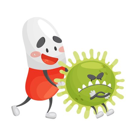 Cartoon pill pushes a microbe in the back. Vector illustration on a white background.