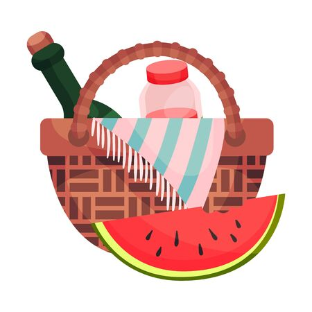 Wicker picnic basket with bottle and jar. Vector illustration on a white background.