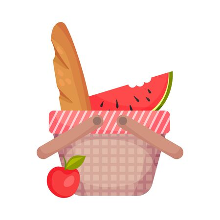 Picnic basket with a slice of watermelon. Vector illustration on a white background.