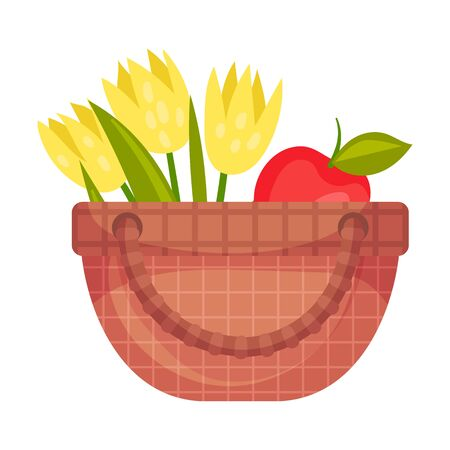 Picnic basket with flowers and apple. Vector illustration on a white background.