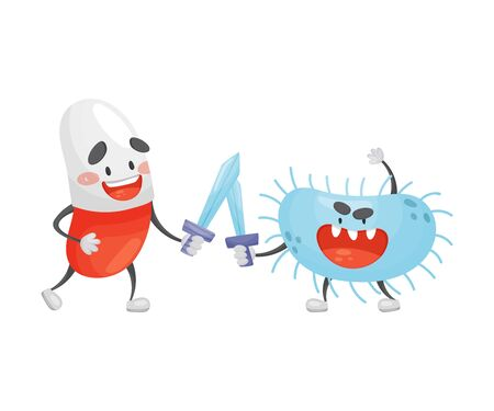 Cartoon tablet fights on swords with a microbe. Vector illustration on a white background.