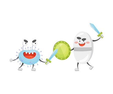 Cartoon tablet with a shield and sword fighting with a microbe. Vector illustration on a white background. Çizim