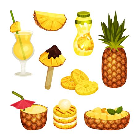 Set of cocktail, slice, dessert, cake and pineapple juice. Vector illustration on a white background.