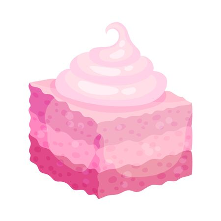 Cube-shaped cake. Vector illustration on a white background.