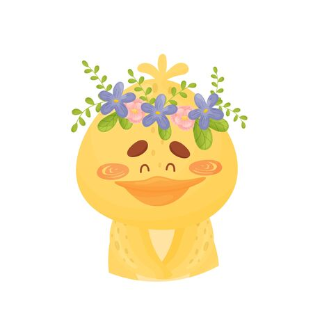 Yellow duckling with a wreath of flowers on her head. Vector illustration on a white background.