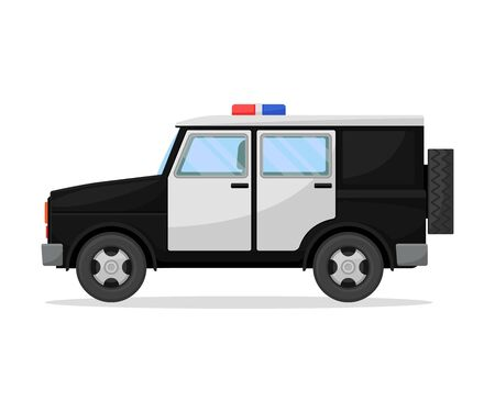 Police jeep. Vector illustration on a white background.