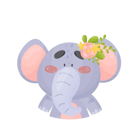 Gray cute baby elephant with a flower on his head. Vector illustration on a white background.  イラスト・ベクター素材
