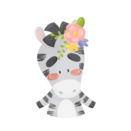 Striped black and white cute zebra with a large pink flower on its head. Vector illustration on a white background.