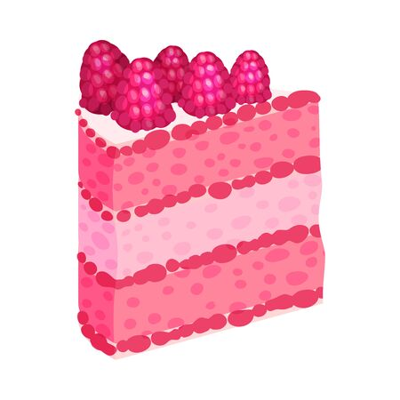 Slice of puff pink slice of cake. Vector illustration on a white background.