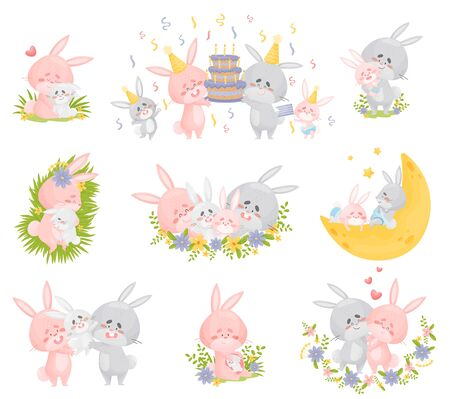 Family of humanized rabbits in different situations. They celebrate their birthday, sleep in the meadow and on the moon, play, hug. Vector illustration on a white background. 向量圖像