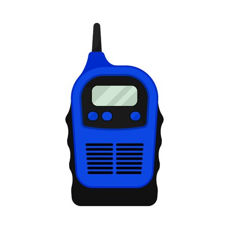 Blue walkie talkie with antenna and buttons. Vector illustration.