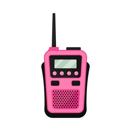 Pink walkie talkie with antenna. Vector illustration on a white background.