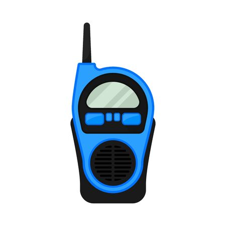 Blue walkie talkie with antenna. Vector illustration on a white background.