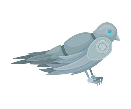 Robot dove. Side view. Vector illustration on a white background. Zdjęcie Seryjne - 130481260