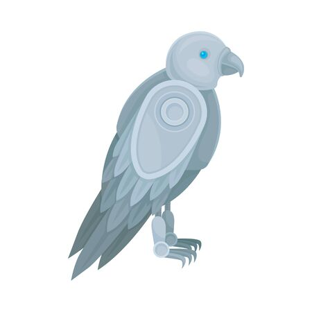 Metallic gray robot in the form of a falcon. Side view. Vector illustration on a white background.