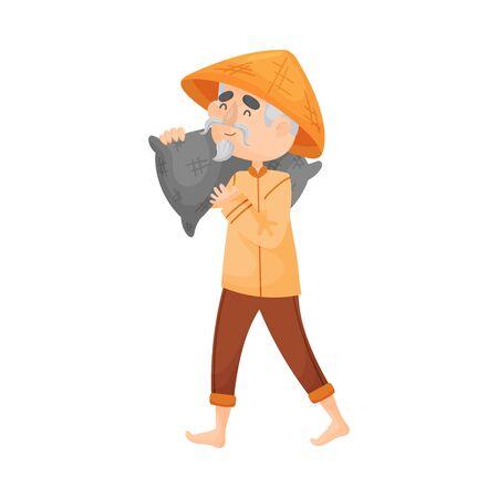 Elderly man in a triangular hat and orange clothes is carrying a gray bag on his shoulder. Vector illustration. Ilustração Vetorial