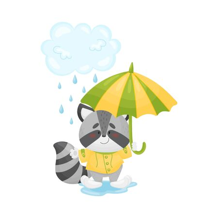 Humanized raccoon in a yellow raincoat with a striped umbrella stands in the rain. Vector illustration. Illustration