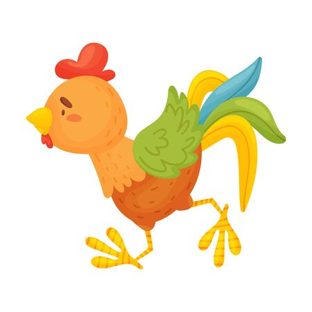 Brown rooster is running. Vector illustration on a white background.