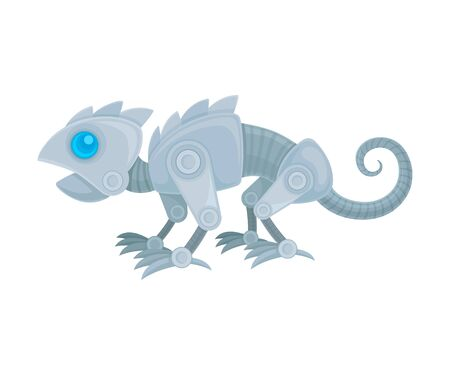 Robot in the form of a chameleon. Side view. Vector illustration on a white background.