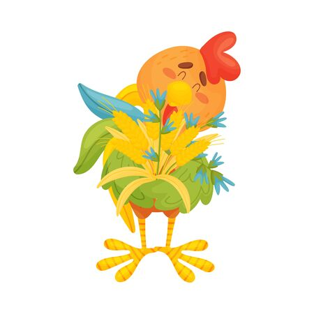 Cartoon colorful rooster wings holding a bouquet of ears of corn and flowers. Vector illustration on a white background.