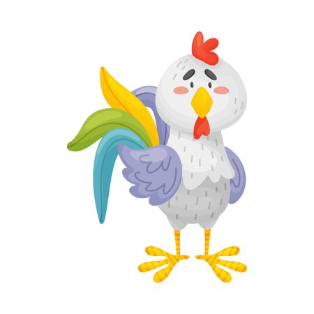 Gray cartoon rooster with a colorful tail stands. Front view. Vector illustration on a white background.
