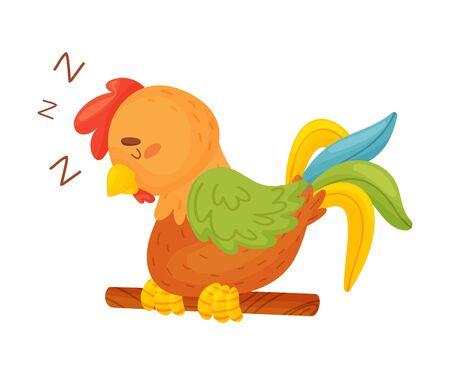 Cartoon brown rooster sleeping on a thin stick. Vector illustration on a white background. Illustration