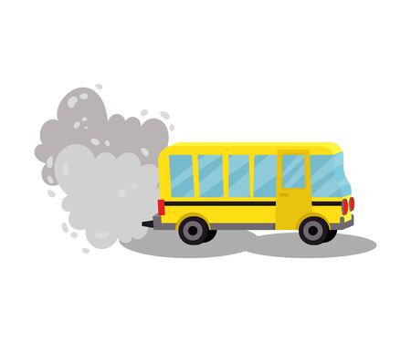 Bus with the exhaust gases. Vector illustration on a white background.