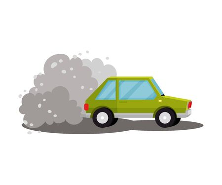 Green car rides. Vector illustration on a white background.