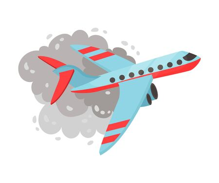 Plane flies among a gray cloud of smoke. Vector illustration on a white background. 일러스트