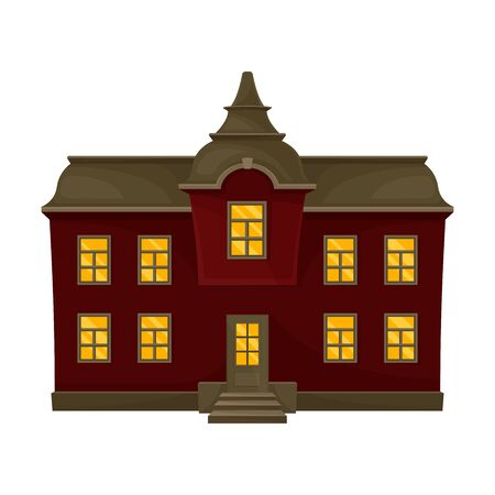 Dark red sinister house with a gray roof. Vector illustration.