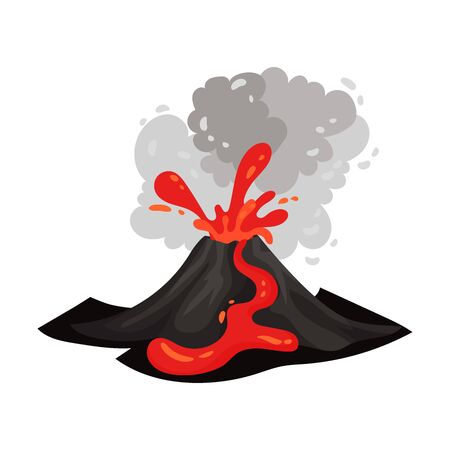 Red lava flows through a black volcano. Vector illustration on a white background.