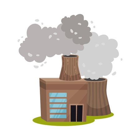 Brown plant with thick pipes. Vector illustration on a white background.