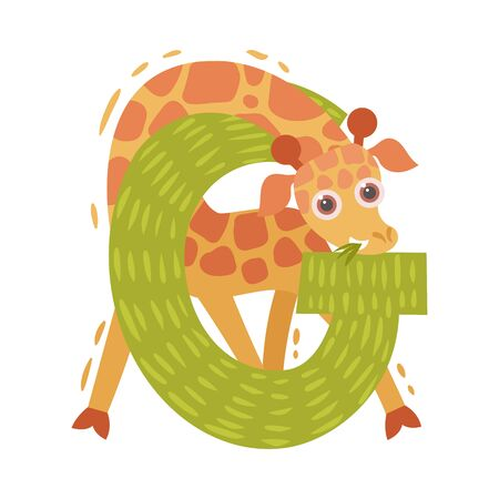 Cartoon giraffe and letter G. Vector illustration on a white background.