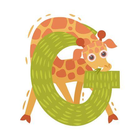 Cartoon giraffe and letter G. Vector illustration on a white background.