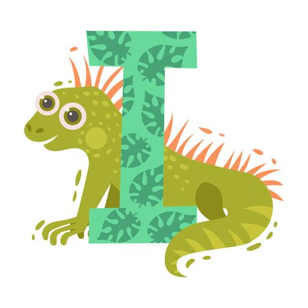 Cartoon iguana and letter I. Vector illustration on a white background. Stockfoto - 130481503