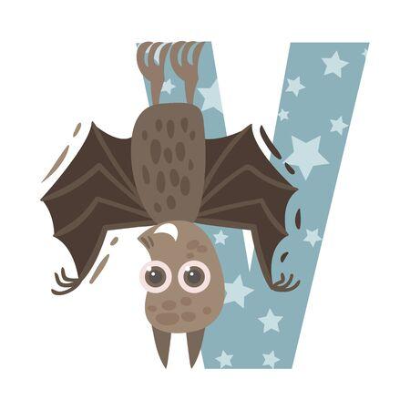 Bat and letter V. Vector illustration on a white background. Illustration